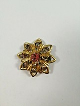 Vintage brooch Gold and rhinestones, 1950s, brand. Free shipping. - $28.71