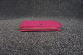 100% AUTH CHANEL Chevron Fuchsia Pink Lambskin Zip Around Wallet Clutch Bag image 3