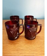 """Set of 4 Arcoroc Luminarc Ruby Red 4"""" Coffee Cups Mugs Made in France  - $15.79"""