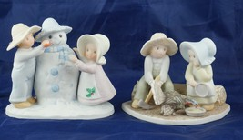 Lot of 2 Circle of Friends Figurines Snow Play Thanksgiving is Coming  1... - $32.28
