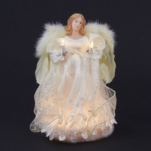 Kurt Adler 10 Light Ivory Angel w/FEATHER Wings Christmas Tree Topper Decoration - $34.88