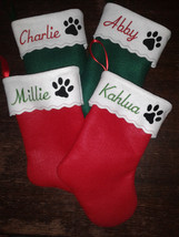 "19"" Embroidered  Personalized Pet Christmas Stocking - Cat - $11.95"