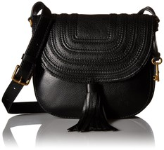 Fossil Emi Tassel Leather Crossbody Saddle Bag Black  - $139.98