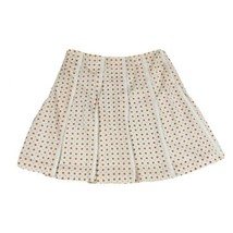 Tahari Skirt Womens Size 8 White Polka Dot  Pleated Lined Summer Casual Cotton M - $12.86