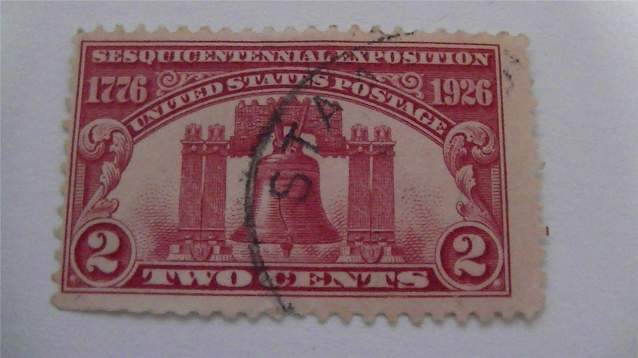 Old Sesquicentennial Exposition Issue Carmine Vintage USA Used 2 Cent Stamp