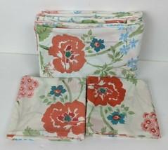 Vintage Fieldcrest Percale Twin Flat Sheet & 2 Pillowcases Poppy Floral - $11.88