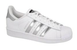 ADIDAS Women's Superstar Shoes White Silver metallic AQ3091 Multi Sizes - $59.95