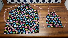 Mother and Daughter Black Matching Tea Pot Aprons USA Made Rainbow Straps - $17.75