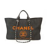 CHANEL Dark Blue Denim Deauville Large Tote Bag with Orange Letters RARE... - $3,455.10
