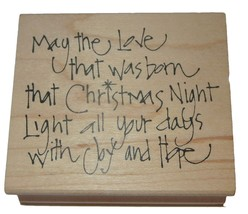 May Love Born Christmas Night Light Days Joy Hope Rubber Stamp New Wood ... - $9.89