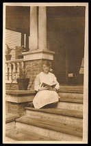 Young Girl Quietly reading a book on front steps Summer Day Read Antique... - $14.99