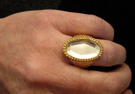 Faceted Mirror COCKTAIL RING Gold Plate Costume Jewelry size 9 Nickel Free - $14.80