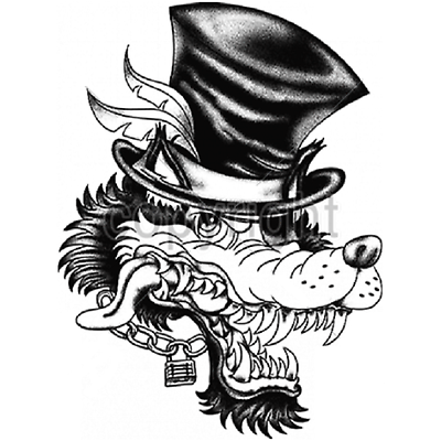 Primary image for Big Bad Wolf Smile Top Hat HEAT PRESS TRANSFER for T Shirt Sweatshirt Tote #059c