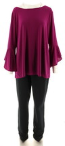 Women with Control Tall Top Slim Ankle Pant Set Grape Juice S NEW A302300 - $36.61