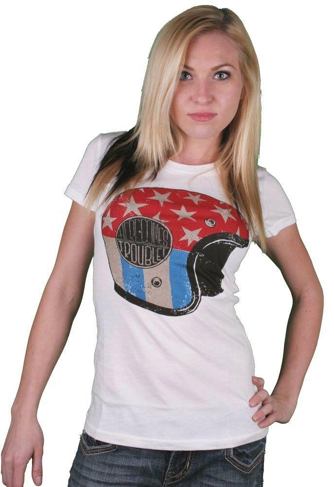 Iron Fist Damen Weiß Hier Kommt Ärger Star Streifen Motorrad Helm T-Shirt