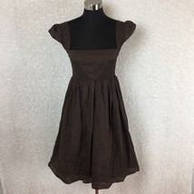 Anthropologie Maeve Womens Dress 6 Supreme Grace Brown Smocked Peasant C... - $39.99
