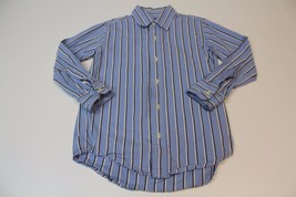 K4645 Boys GAP KIDS blue/white/black stripe cotton BUTTON DOWN SHIRT, sm... - $5.48