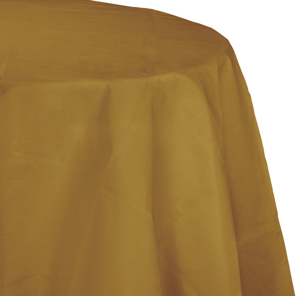 82 inch Octy Round Tissue/Poly Tablecover Glittering Gold/Case of 12