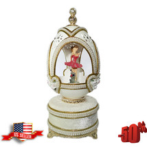"White Egg Shell Ballerina Music Box, 5.51"" / 14 cm Easter Gift Russian F... - $59.39"