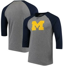 Michigan Wolverines Mens Nike TRI-BLEND Logo Raglan 3/4 Sleeve T-Shirt -... - $27.99