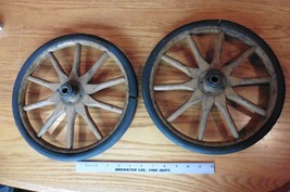 """2 Wheels Vintage 12"""" wooden iron & rubber Antique 10 spoke baby carriage... - $125.00"""