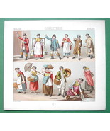 ENGLAND Costume Fireman Fish Seller Watchman etc - 1888 COLOR Print A. R... - $9.79