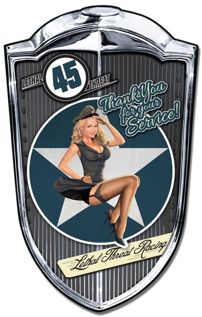 "Bomber Babe Grill Pinup Plasma Cut Metal Sign ( 36"" by 24"" )"