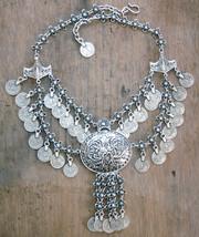 SOLD-Bib Necklace, Silver Coins bib necklace, Gipsy Bib Necklace (868) - £38.28 GBP