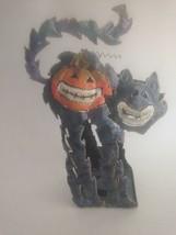 """Halloween Cat Pumpkin Candle Light Holder Glazed Metal Statue 10"""" X 7"""" X... - $14.22"""