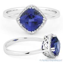 2.23ct Cushion Cut Blue Corundum Diamond Halo Engagement Ring in 14k Whi... - £306.16 GBP