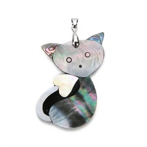 Ckysee Natural Mother Of Pearl Cat Animal Pendants 34x56/37x57mm Abalone... - $12.97