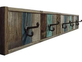 Reclaimed Barn Wood Towel Rack, 5 Hook Wall Mounted, 47 inches Barnwood Multi Ba