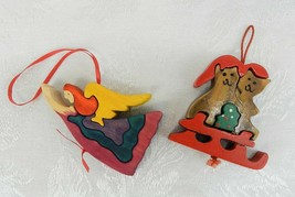 """2 Wood Puzzle Piece Christmas Ornaments Angel Cats on Sled 3-1/4"""" - $9.89"""
