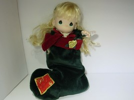 """Precious Moments Gabrielle Stocking Doll 2001 Porcelain Christmas Holiday 16"""" - $14.25"""