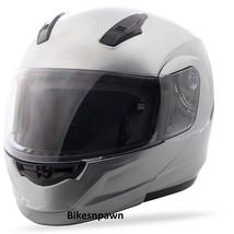 2XL GMax MD04 Metallic Silver Modular Street Motorcycle Helmet DOT image 1