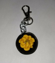 Mac N Cheese Black Bowl Keychain Fob Accessory Food Charms Keychain Clip On - $7.50