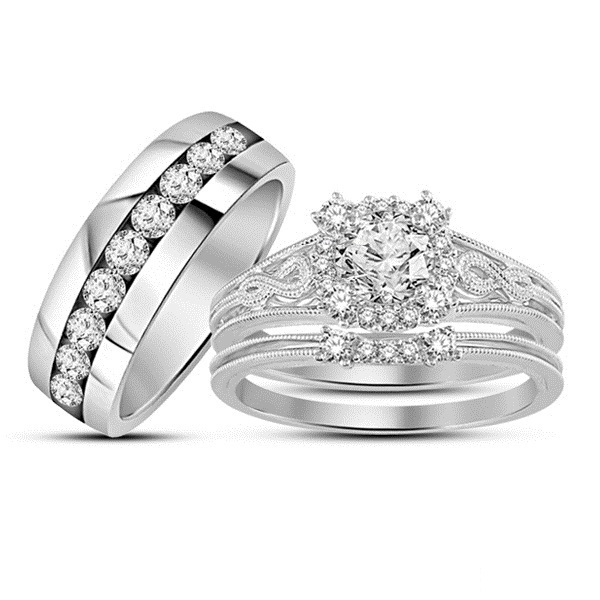 Primary image for 14k White Gold Plated 925 Silver Wonderful Engagement Wedding Trio Ring Set