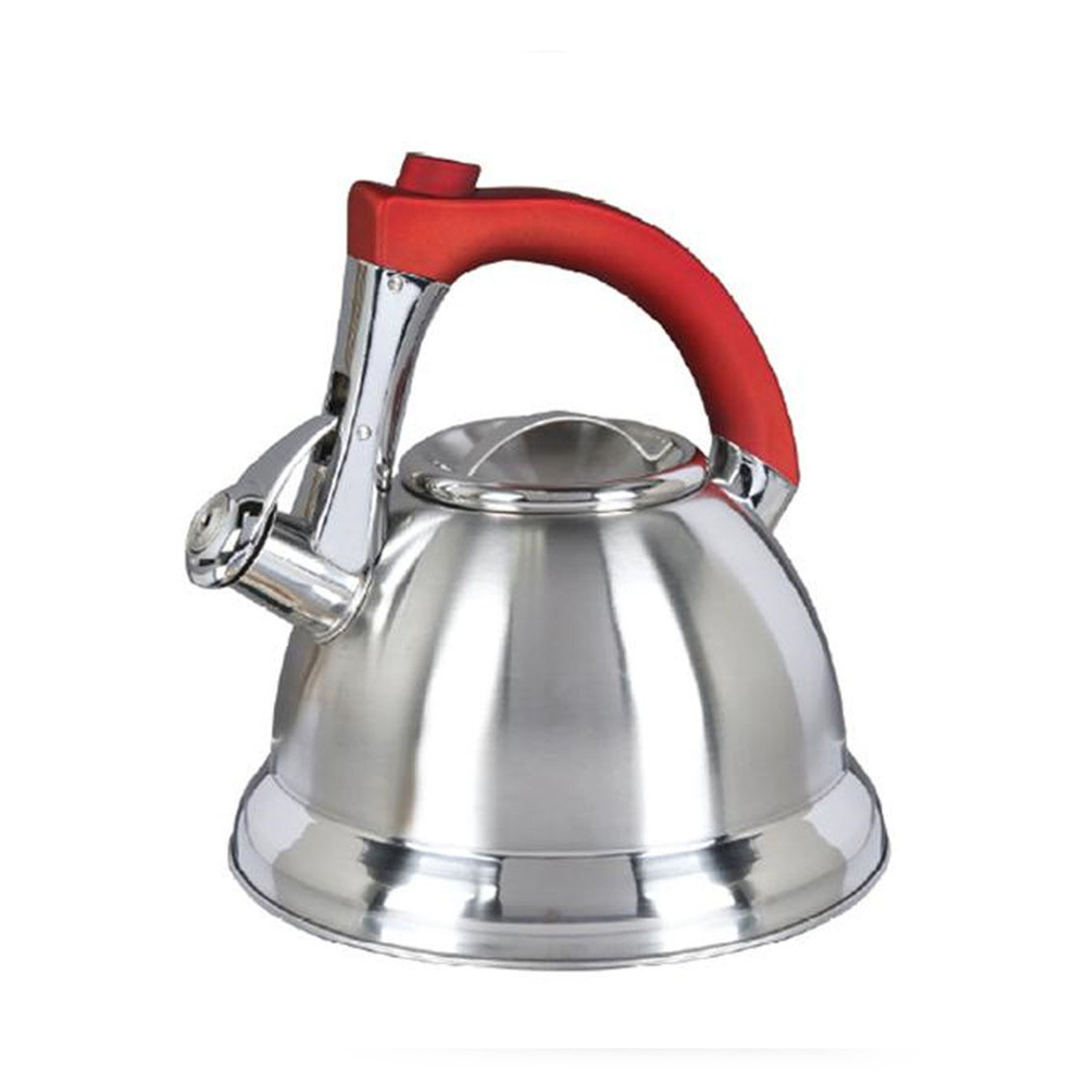 Mr. Coffee Collinsbroke 2.4 Quart Stainless Steel Tea Kettle with Red Handle