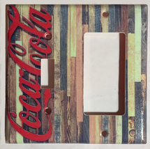 Barn Wood Coke Logo Coca Cola Light Switch Outlet wall Cover Plate Home Decor image 4