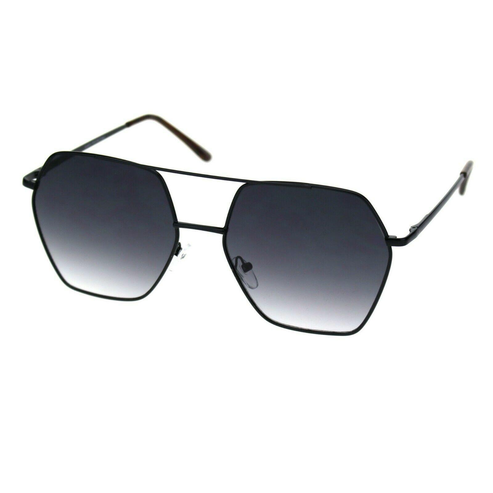 Womens Hexagon Shape Sunglasses Double Bridge Metal Frame UV 400