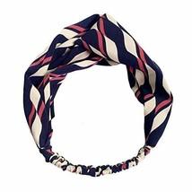 Vintage Elastic Hairband Blue/Red Contrast Color Nylon Head Wrap Headband image 2