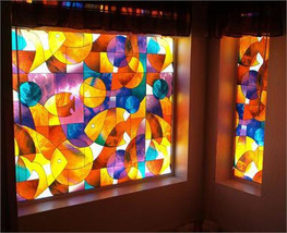 "Fish Stained Glass Privacy Window Film 36"" Wide x 28"" long - $23.65"