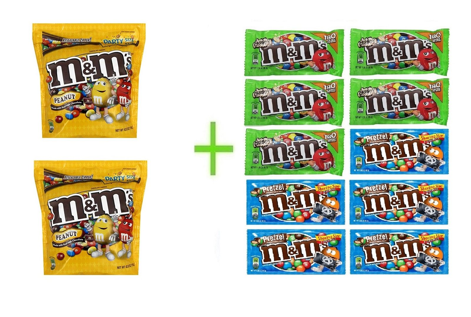 M&M's Peanut Chocolate Candies Party Size 42 OZ (Pack of 3) +10 pack M&M chocola, used for sale  USA