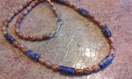 Great giftMens's necklace beaded unisex beaded necklace lapis lazuli - $24.99