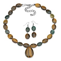 PalmBeach Jewelry Shell and Jasper Necklace and Drop Earrings Set in Silvertone - $24.49