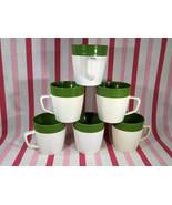 FuN Vintage 1970's Raffiaware Thermo Temp Avocado 6pc Ribbed Mugs w/ Han... - $28.00
