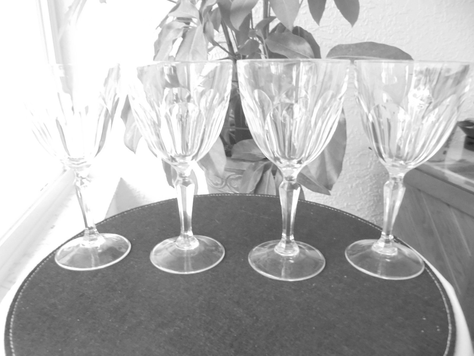 """Set of 4 Cris D'Arques Washington Pattern Water Goblets 7 1/4"""" Tall - $39.59"""