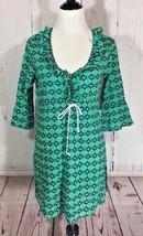 Mud Pie Blue Green Geometric 100% Cotton Tunic Swim Cover Up Dress Size Small - $13.95