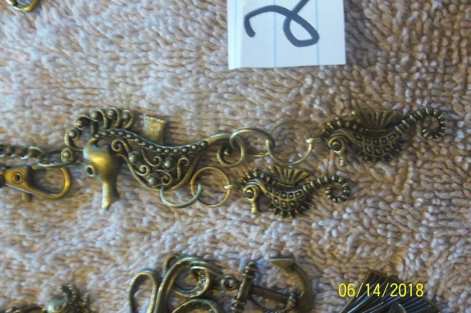 #purse jewelry bronze color keychain backpack filigree charms lot of 3 floral 21 image 5
