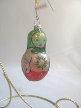 Russian Doll Glass Christmas Ornament Matrushka - $12.86